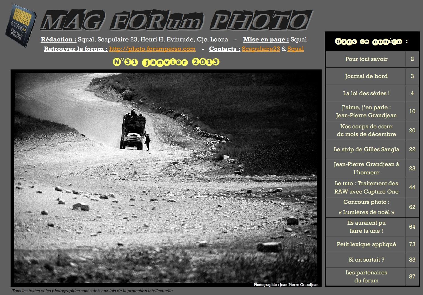 Magazine du forum N°31 janvier 2013